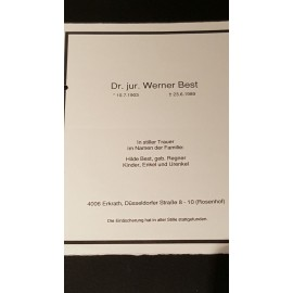 SS-Obergruppenführer Werner Best. Post War Death Announcement Card.